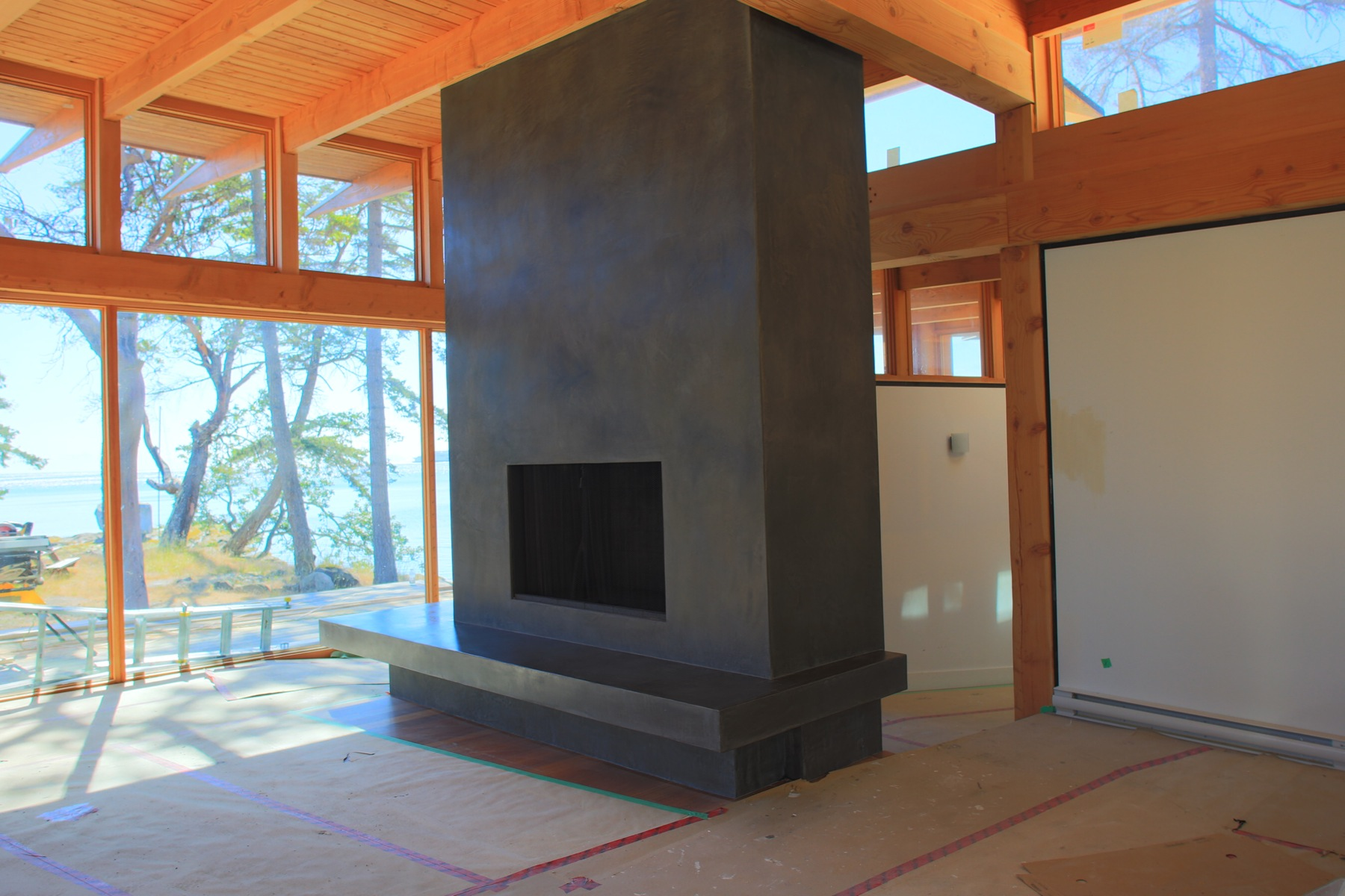 Black Tadelakt Fireplace