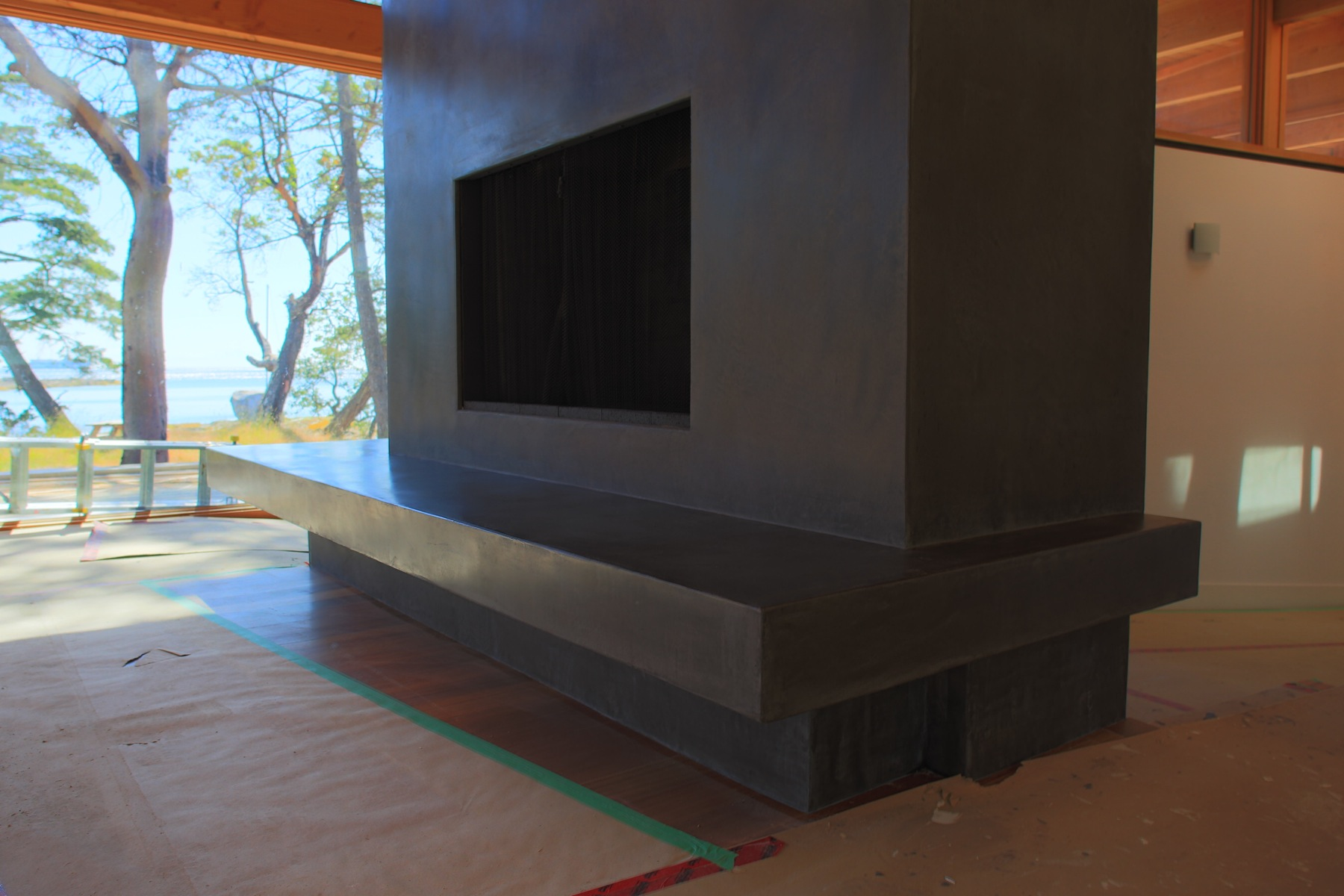 Waxed Tadelakt Fireplace Hearth