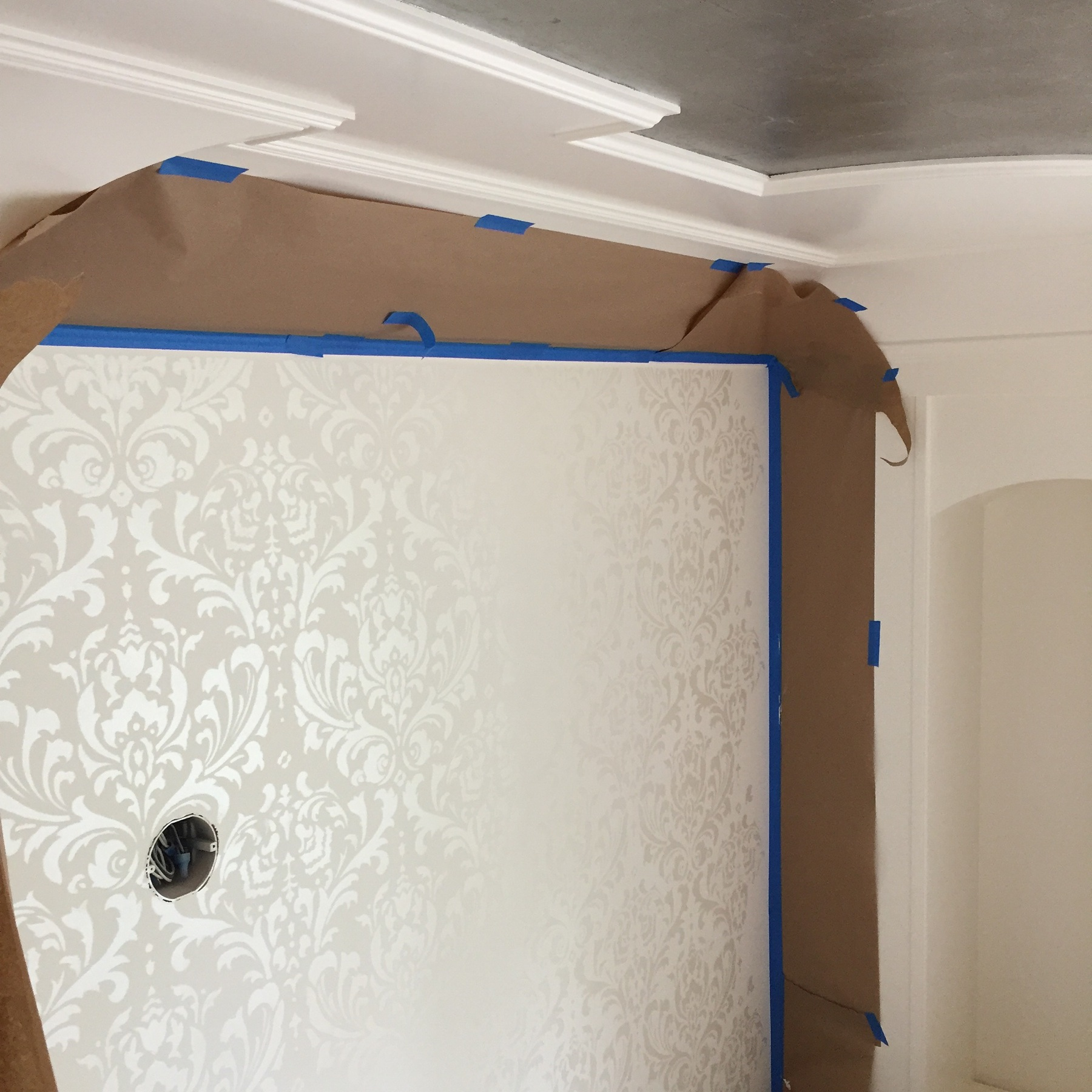 Damask Stencil hand applied section by section